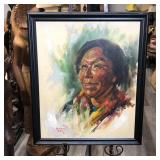 """NATIVE AMERICAN WOMAN PAINTING 23""""x27"""""""