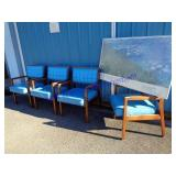 LOT OF VINTAGE OFFICE CHAIRS & PRINT