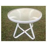 Round Glass Top and Metal Patio Table