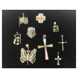 Lot of 9 Sterling 925 pendants