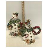 Snowman Cookie Jar and Pitcher