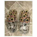 Set of 4 Handpainted Sunflower Drinking Glasses