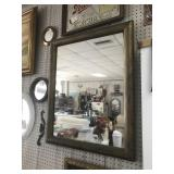 Large Square Goldtone Framed Mirror