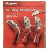 Snap-On Three Piece Folding Utility Knife Set