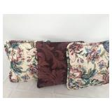 Lot of 3 Floral Throw Pillows