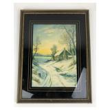 Antique Winter Cottage Lithograph