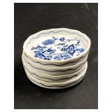 "(4) Blue Danube 4"" Porcelain Trays"
