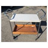 Swedish Metal & Wood Rolling Cart