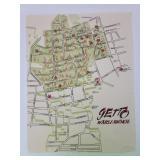 """Getto Warszawskie Map 16.5 x 12.75"""" On Paper"""