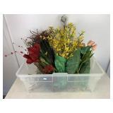 Bin of Artificial Flowers