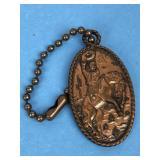 Vintage Brass Cowboy Keychain
