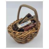 Miniature Basket W/ Vintage Matchboxes