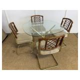 Vintage Glass Dining Table W/ Chairs