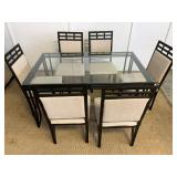 Black Metal Glass Top Table & Chairs