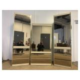 White Mirror Front Display/ Storage Cabinets