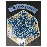 Mosaic Tile on Glass w/ Metal Welcome Sign