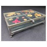 Vintage Dried Pressed Flower Glass Jewelry Box