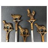Vintage Turkish Brass Animal Skewers