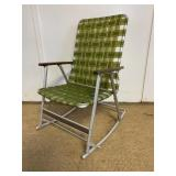 Vintage Aluminum and Wood Folding Rocking Chair