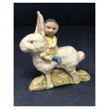 Vintage Signed Debbee Thibault Girl Riding Bunny