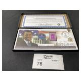 BARACK OBAMA INAURAL COIN AND STAMP