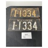 MATCHED PAIR NEW JERSEY LICENSE PLATES 1932