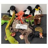 TY BEANIE BABY LOT TURTLES EEL ETC. 11 TOTAL PCS