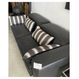 BLACK LEATHER 2 PIECE PULL OUT SOFA