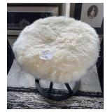 "FAUX FUR STOOL WITH BLACK BASE 24"" X 24"""