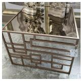 "METAL AND MIRROR END TABLE 28"" X 28"" X 20"""