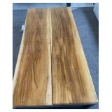 "WOOD SLAB AND METAL COFFEE TABLE 62"" X 30"" X 14"""