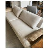 "LINEN AND METAL SOFA WITH MAG RACK 102"" X 38"" X 30"