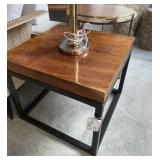 "WOOD SLAB AND METAL END TABLE 24"" X 24"" X 20"""