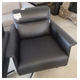 "BLACK LEATHER SWIVEL CHAIR 30"" X 31"" X 31"""
