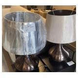BRONZE TONE TABLE LAMP SHADES DO NOT MATCH 21