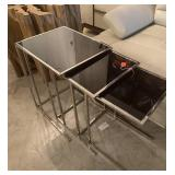 CHROME AND SMOKED GLASS NESTING TABLE