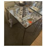 "CHROME AND MIRROR SIDE TABLE 21"" X 14"" X 25"""