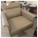 "TAUPE LEATHER SWIVEL CHAIR 30"" X 30"" X 31"""