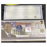 2009 BARACK OBAMA COVER AND COIN SET