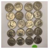 20 ASSORTED INCL BICENTENTIAL KENNEDY HALF DOLLARS