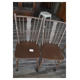 (2) Wooden Chairs Painted Brown