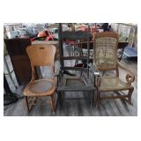 (3) Antique Rocking Chairs (one cane back)