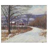 WILSON, James Perry. Oil on Panel. Winter Scene.