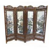 Porcelain Mounted Four Panel Floor Screen.