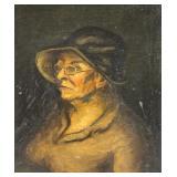 SLOAN, John (attr.). Oil on Canvas. An Old Woman