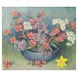 HULL, Marie. Oil on Masonite. Floral Still Life.