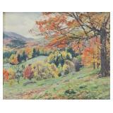 WILSON, James Perry. Oil on Panel. Autumnal Scene.