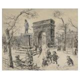 "SLOAN, John. Etching. ""Sculpture in the Square""."
