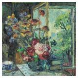 BURLIUK, David. Oil on Canvas. Floral Still Life.