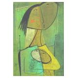 BOTELLO, Angel. Color Linocut. Woman and Child.